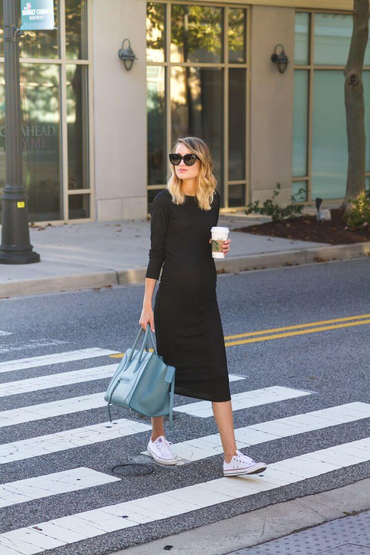 Knit Midi Dress and Sneakers: