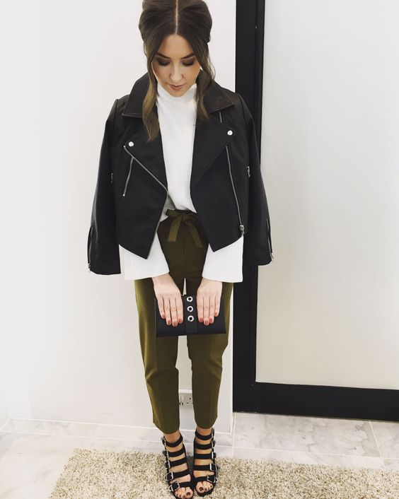 Smart meets casual in this layered look by our Personal Shoppers. Pair belted cigarette trousers with a classic biker jacket. #Topshop: