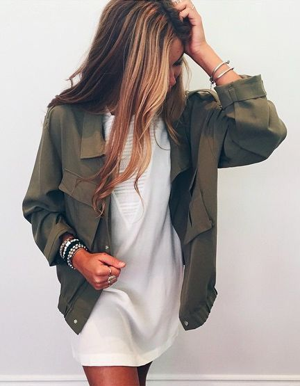 army green jacket shift dress: