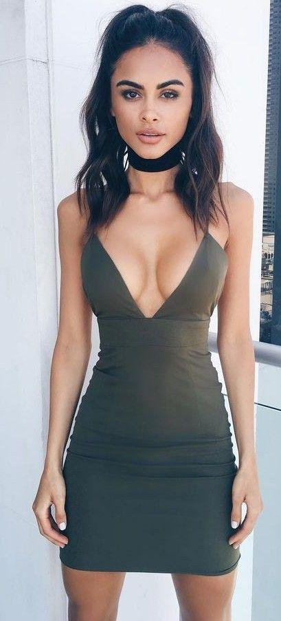Military Green Little Dress Source: